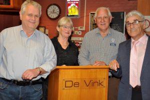 De jubilarissen op een rijtje: v.l.n.r. Martien Pijnenburg (50 jaar lid), Geno Hartman-Paijmans (25 jaar), Piet van Herpen (60 jaar) en Tony Schreppers (50 jaar).